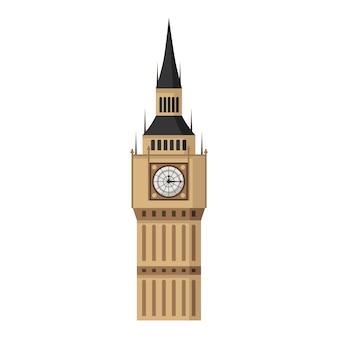 Torre do big ben em estilo simples, isolado.
