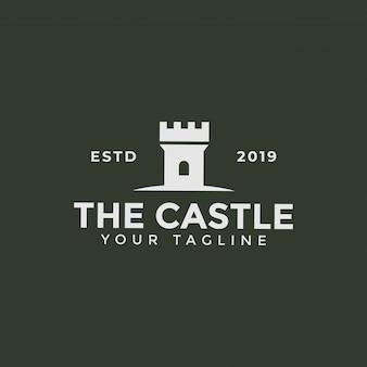 Torre do castelo, modelo de design de logotipo de construção de fortaleza