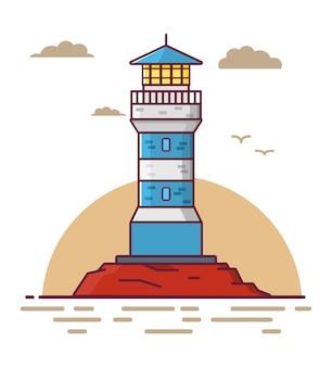 Torre do farol em uma rocha