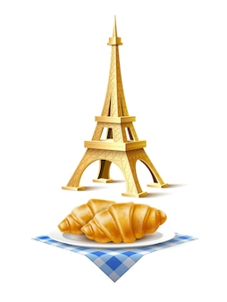 Torre eiffel dourada realista e croissant francês