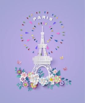 Torre eiffel em paris, frança. estilo de corte de papel.