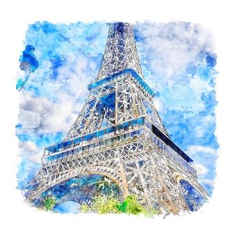 Torre eiffel paris frança esboço em aquarela desenhado à mão