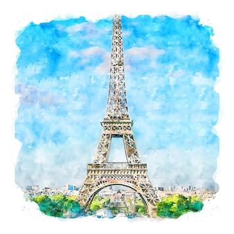 Torre eiffel paris frança esboço em aquarela ilustração desenhada à mão