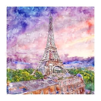 Torre eiffel paris frança esboço em aquarela ilustrações desenhadas à mão Vetor Premium
