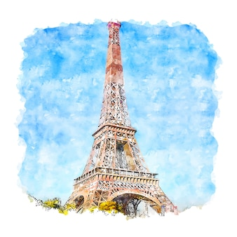 Torre eiffel paris frança esboço em aquarela.