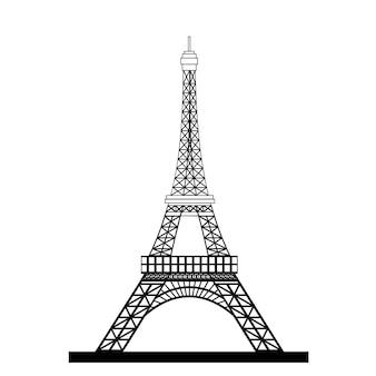 Torre eiffel silhueta negra