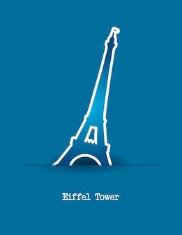 Torre eiffel sobre ilustração vetorial de fundo azul