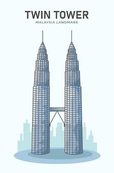 Torre gêmea, malásia, ilustração minimalista