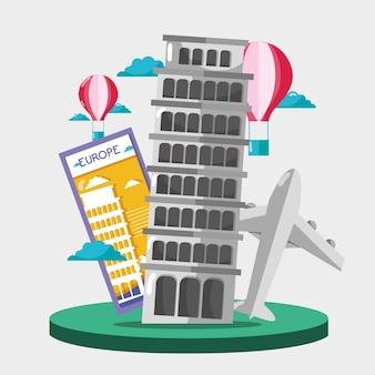 Torre inclinada de pisa com balão de ar