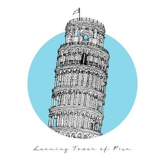 Torre inclinada de pisa, marco da arquitetura itaian, esboço desenhado de mão