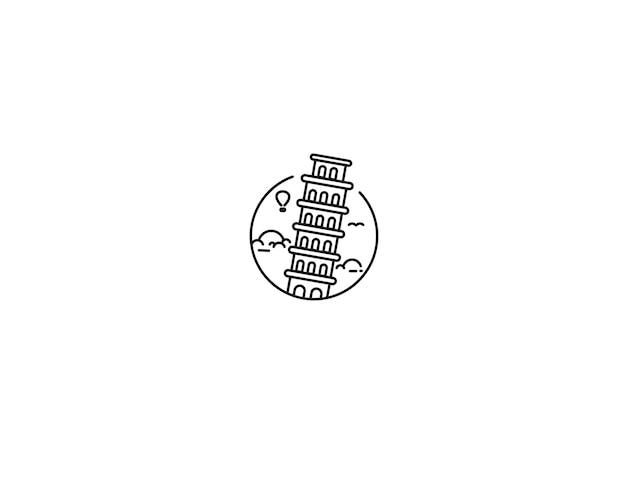 Torre inclinada desenhada à mão, pisa - esboço para ilustração vetorial de design