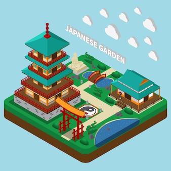 Torre japonesa isométrica