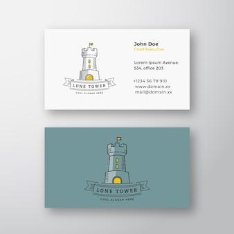 Torre solitária logotipo de vetor moderno abstrato e modelo de cartão de visita fortaleza com uma bandeira e um typogra ...