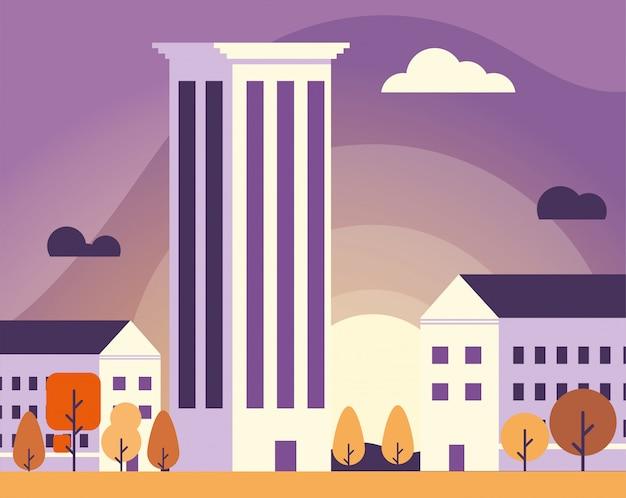 Torres de apartamentos e prédio de escritórios, paisagem urbana