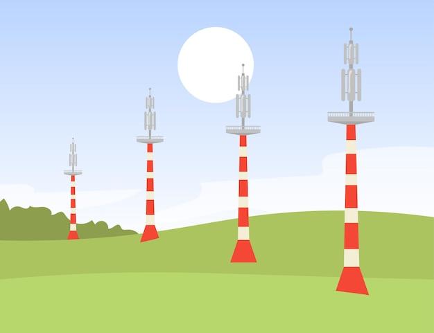 Torres de transmissão de sinais metálicos em campo. ilustração plana de rede, wi-fi, s un
