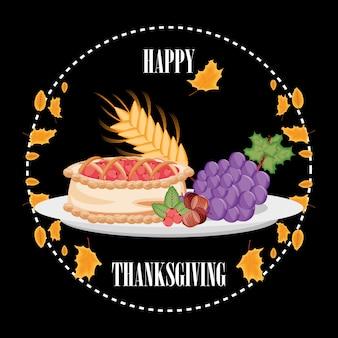 Torta com uvas e nozes do dia de ação de graças