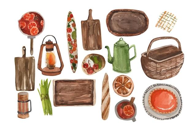 Torta de abóbora com itens de piquenique de outono em aquarela