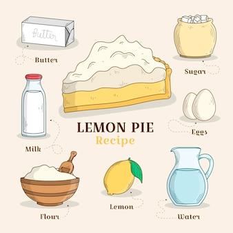 Torta de limão de receita desenhada de mão