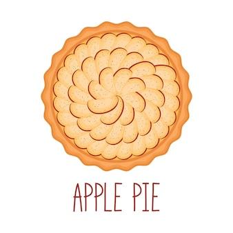 Torta de maçã com canela em fundo branco, vista superior, ilustração vetorial