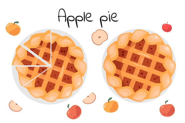 Torta de maçã inteira e fatiada. maçãs inteiras e cortadas estão ao redor. ilustração isolada no fundo branco. vista do topo.