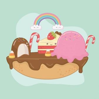 Torta doce de creme de chocolate com personagens kawaii
