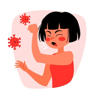 Tosse, mulher, coronavirus, conceito