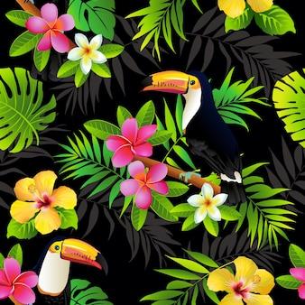 Toucans de aves tropicais e folhas de palmeiras de fundo sem costura.