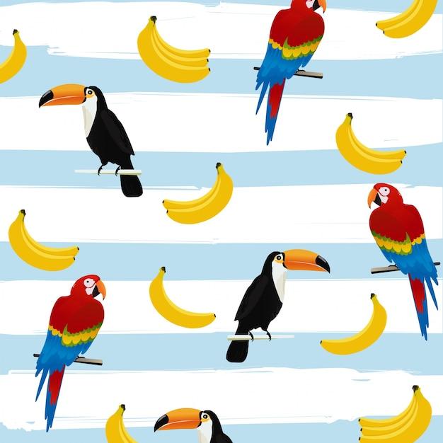 Toucans e papagaios com bananas em listras padrão padrão sem costura