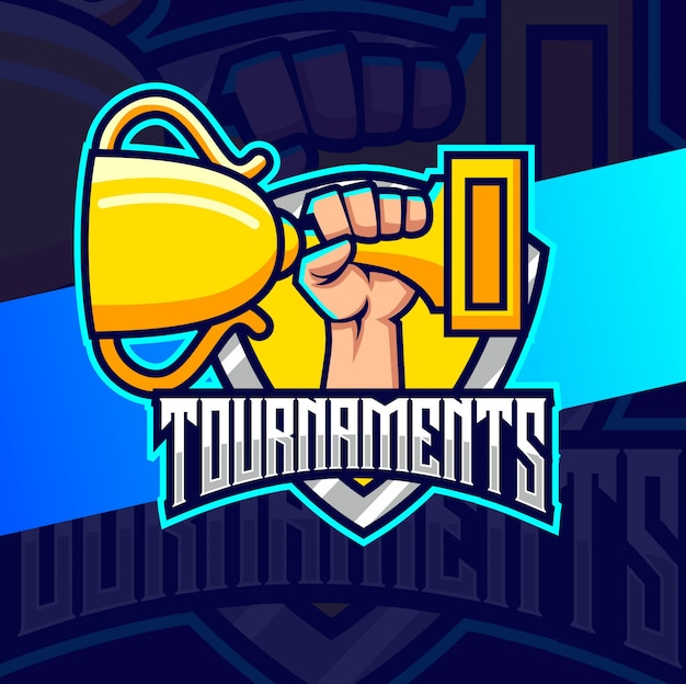 Tounaments trophy on hand logotipo esport