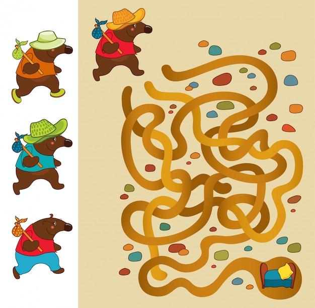 Toupeira. jogo de labirinto educacional para crianças.
