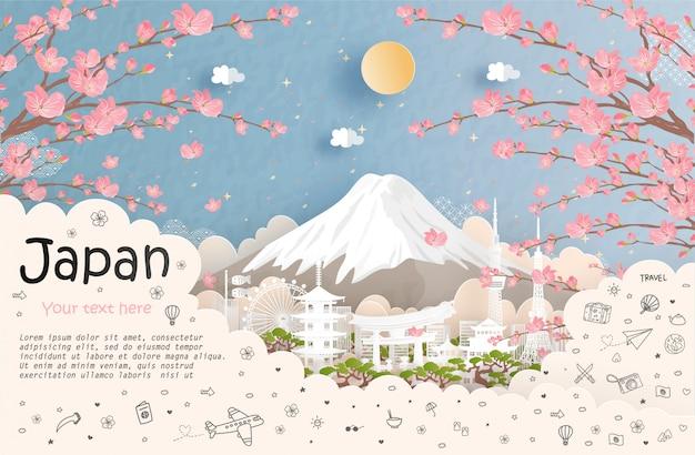 Tour e publicidade de viagens e marco do japão