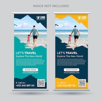 Tour e viagens arregaçar modelo de suporte de banner