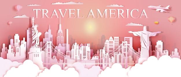 Tour marcos dos estados unidos e américa do sul famoso monumento arquitetura.