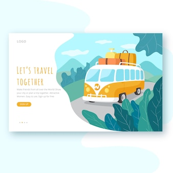 Tour pela página de destino da viagem