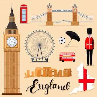 Tourist england travel coleção conjunto