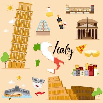 Tourist italy travel coleção definida