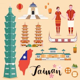 Tourist taiwan travel coleção definida