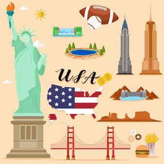 Tourist united state of america eua conjunto de coleta de viagem