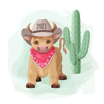 Touro, boi e vaca, símbolo do novo ano de 2021.
