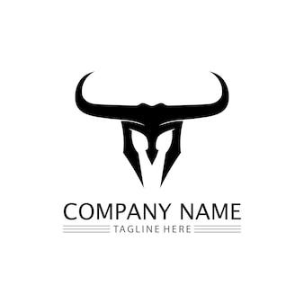 Touro, cabeça de búfalo, vaca, animal, mascote, design de logotipo