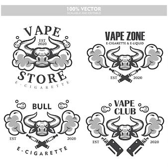Touro cabeça vapor e-cigarro vape vaporizador cigarro vape vaporizador fumaça eletrônica elétrica vaping conjunto de etiquetas logotipo do estilo vintage.