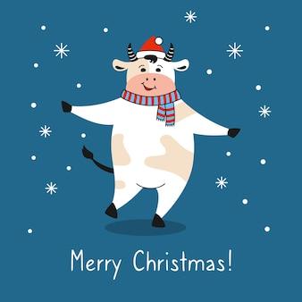 Touro com chapéu de papai noel cumprimentando cartão de natal