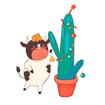 Touro de desenho animado decora um cacto de natal