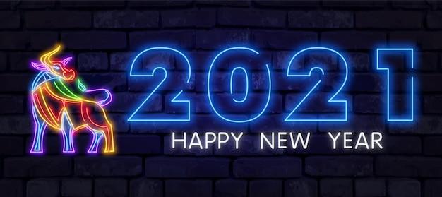 Touro de néon 2021. ano novo chinês sinal de néon, tabuleta brilhante, faixa de luz. néon de boi chinês logotipo, emblema. 2021 chinês.