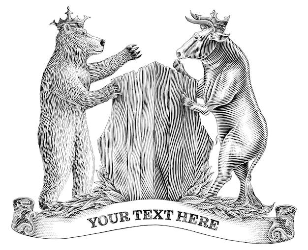 Touro e urso preto e branco lutando em estilo de gravura