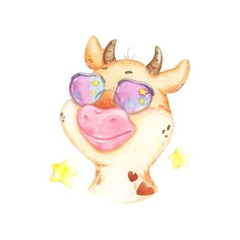 Touro engraçado de óculos escuros