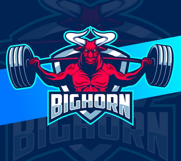 Touro fitness design de logotipo forte mascote esport