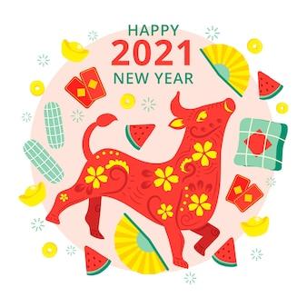 Touro floral feliz ano novo vietnamita 2021