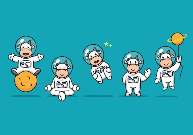 Touro fofo com fantasia de astronauta