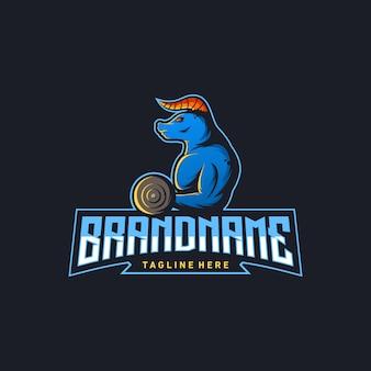 Touro ginásio logo design ilustração vetorial